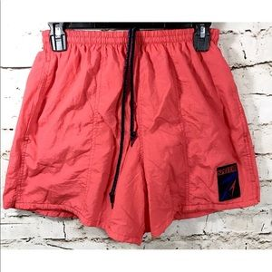 Speedo Vintage Coral Red Windbreaker Swim Shorts